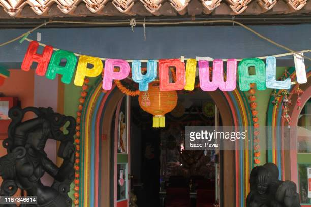 happy diwali letters in little india, singapore - diwali decoration stock pictures, royalty-free photos & images