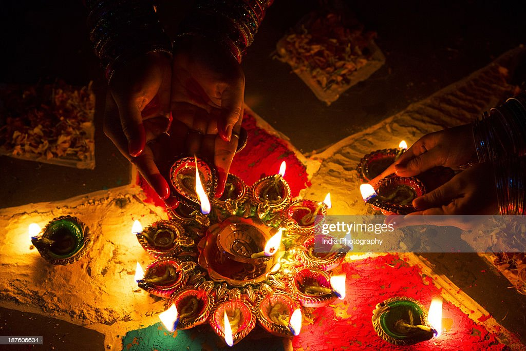 """Diwali (also spelled Devali in certain regions) or Deepavali is popularly known as the """"festival of lights,"""" is a five day festival which starts on Dhanteras (Dhantrayodashi), celebrated on thirteenth lunar day of Krishna paksha (dark fortnight) of the Hindu calendar month Ashwin and ends on Bhaubeej, celebrated on second lunar day of Shukla paksha (bright fortnight) of the Hindu calendar month Kartik. In the Gregorian calendar, Diwali falls between mid-October and mid-November."""