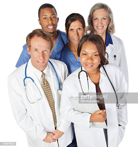 happy doctor and nurse team looking up, isolated on white - nurse and portrait and white background and smiling and female and looking at camera stock pictures, royalty-free photos & images