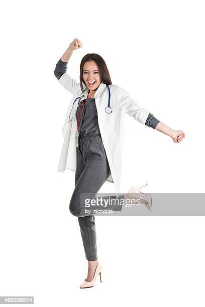 Happy doctor jumping