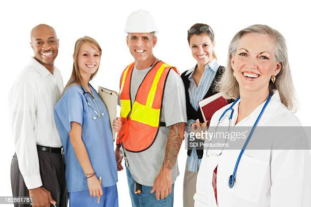 Happy Doctor With Cheerful Diverse Group of Professionals