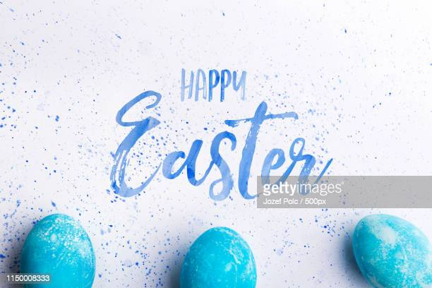 happy easter flat lay on a white background - happy easter text stock pictures, royalty-free photos & images