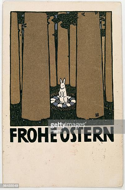 Happy Easter Greeting Card Postcard from the Viennese Werstaette Number 145 Colour Lithography by Janke Urban 14 9 cm Around 1907/08 [Frohe Ostern...