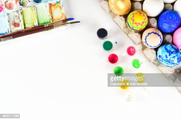 Happy Easter Image Top View with Water Colour, Painting Brush, Animal Eggs