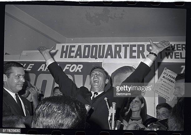 A happy Endicott Peabody former Governor of Massachusetts raises his arms in victory at his campaign headquarters after winning the Democratic US...