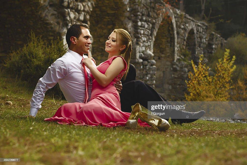 Happy Engaged Couple : Stock Photo