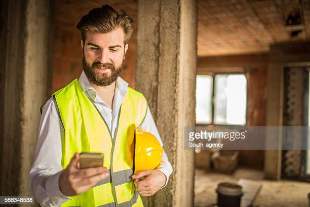Happy engineer hipster