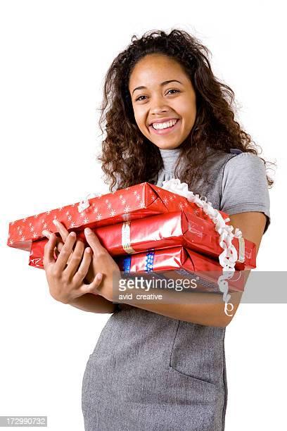 Happy Ethnic Girl with Christmas Gifts