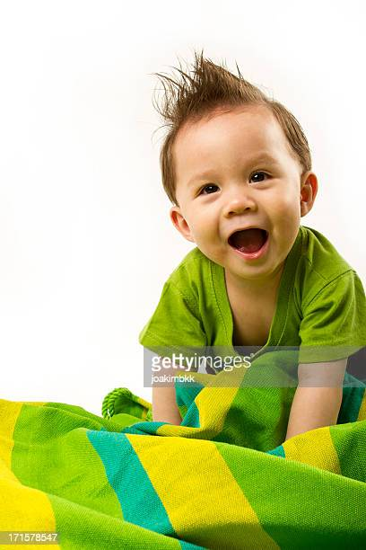 Happy Eurasian baby on white background