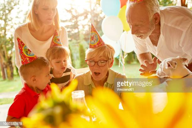 happy extended family on a garden birthday party - girl blows dog stock photos and pictures