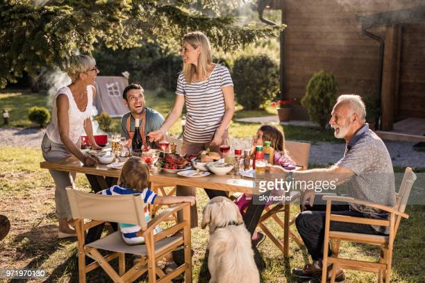 happy extended family talking while having their lunch in the front yard. - dog eats out girl stock pictures, royalty-free photos & images