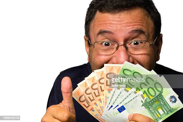 Happy face of mature man with money in hand