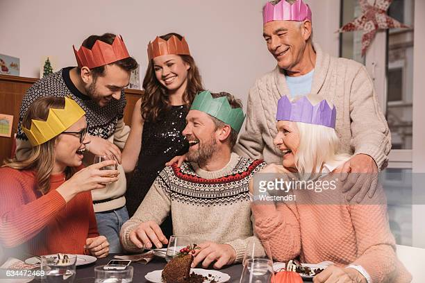 Happy family after having Christmas pudding