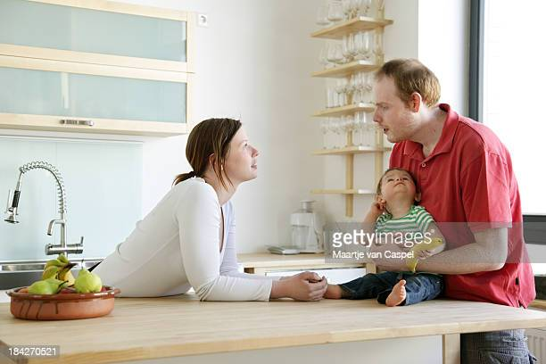 happy family at home - family at home stock photos and pictures