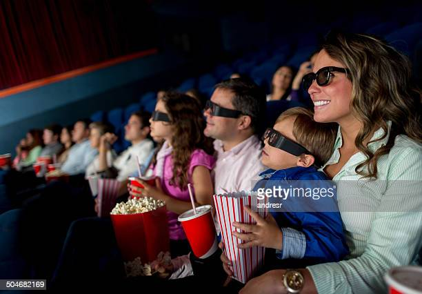 Happy family at the movies