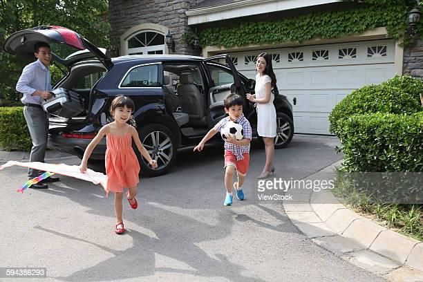 Happy family car travel