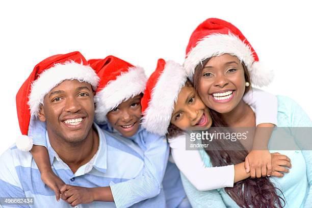 幸せな家族のクリスマスのお祝い