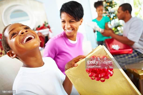 Happy family celebrating Christmas together