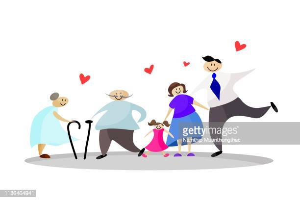 happy family concept vector illustration shows the happiness of parents and daughter on the white background. - vector illustrations stock pictures, royalty-free photos & images