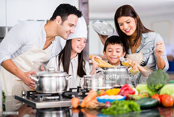 Happy family cooking