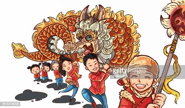 Happy family dragon dance