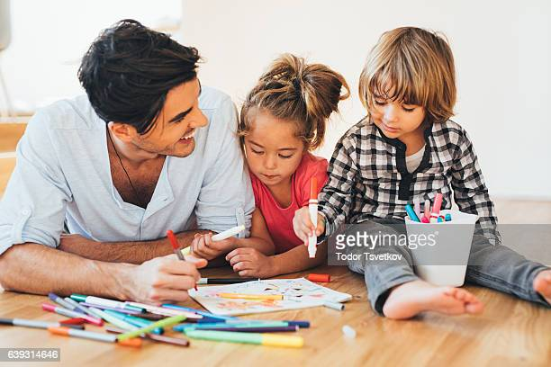 happy family drawing - coloring stock photos and pictures