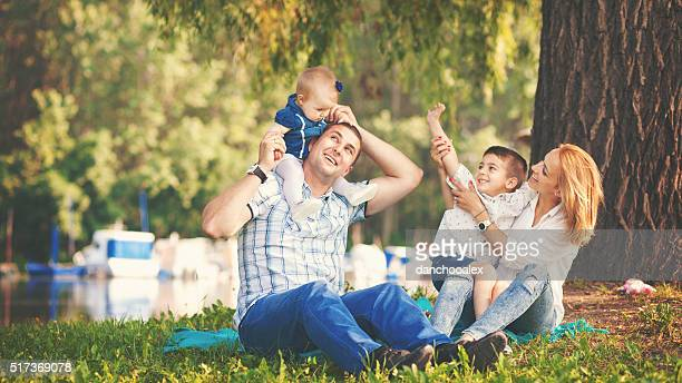 Happy family enjoying a summer day outdoors