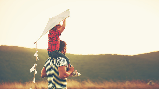 happy family father and child on meadow with a kite 598794936