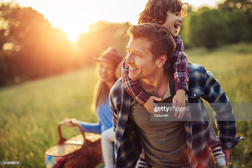 Happy family going for picnic : Stock Photo