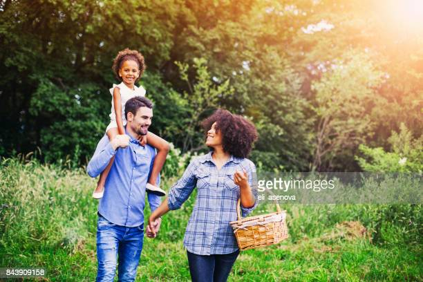 Happy family going for picnic