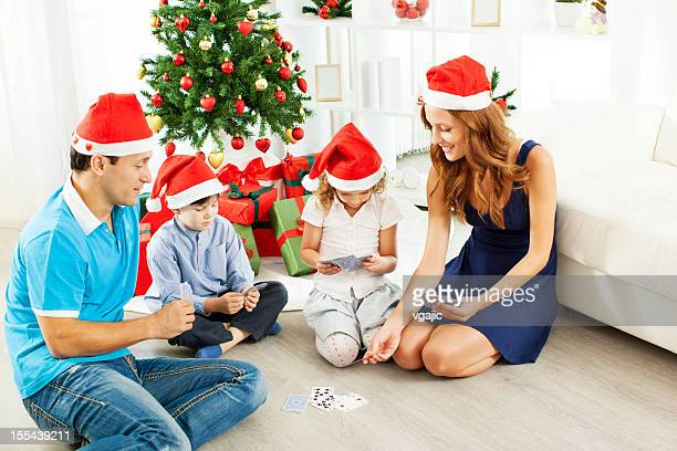 Happy Family Having Christmas time at home.