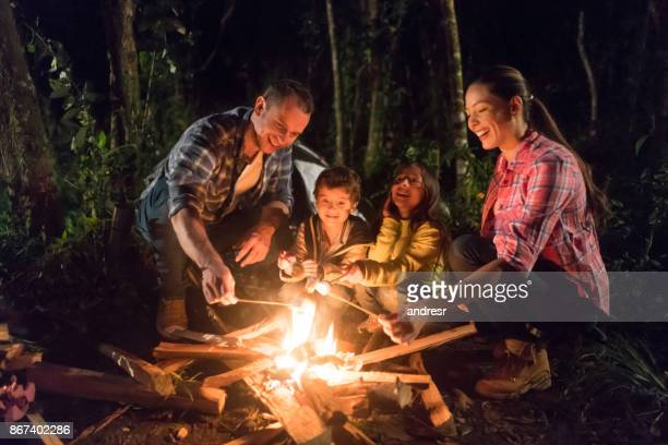 happy family having fun camping - campfire stock pictures, royalty-free photos & images