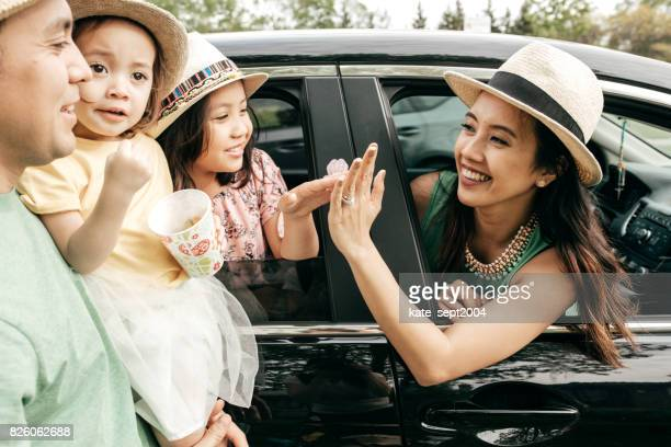 happy family having fun outdoor - car insurance stock pictures, royalty-free photos & images