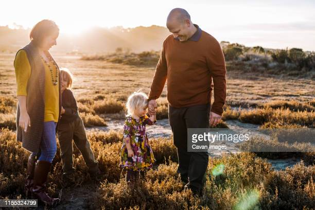 happy family holding hannds and dancing during golden hour by natural park - golden hour stock pictures, royalty-free photos & images