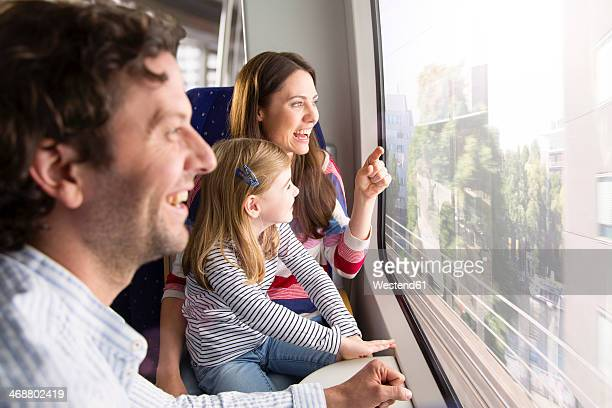 Happy family in a train