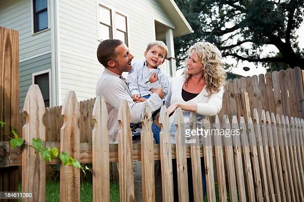 Happy family in backyard