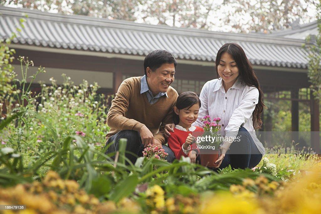 Happy family in garden : Stock Photo