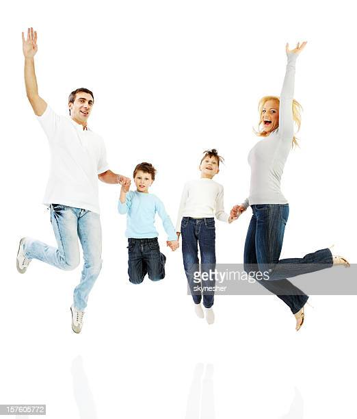 Happy family jumping together