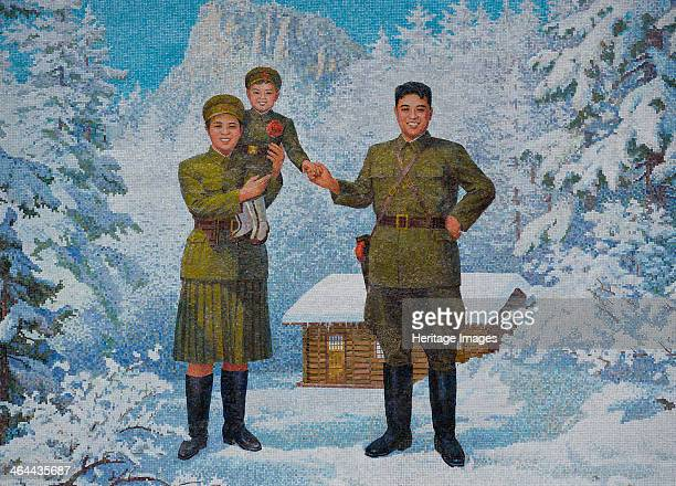 Happy Family Kim Ilsung and his wife Kim Jongsuk with son Kim JongIl 1960s Found in the collection of the Monument in Pyongyang