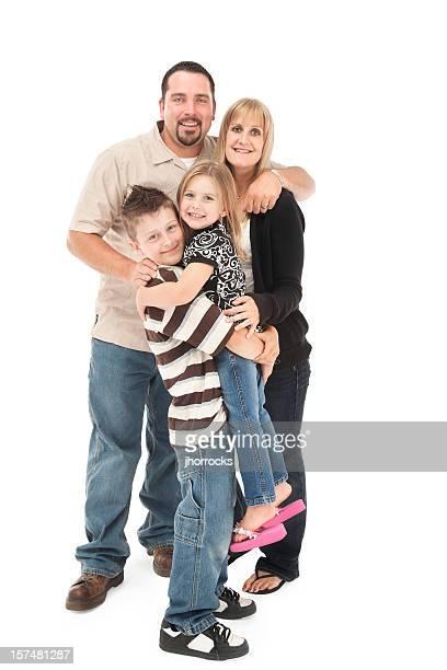 Happy Family of Four on White