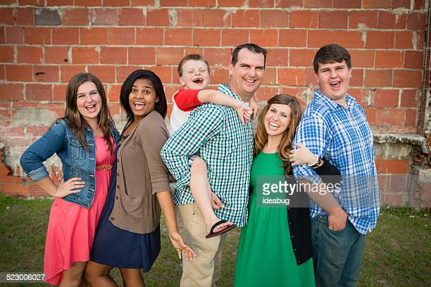 Happy Family of Six Together with Adopted Daughter