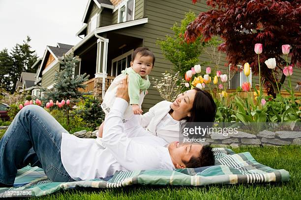 Happy Family on A Beautiful Spring Day