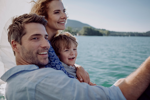 Happy family on a sailing trip - gettyimageskorea