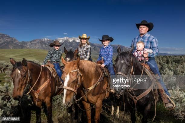 Happy Family on Horseback