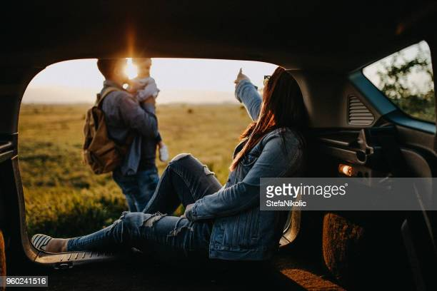 happy family on road trip - two generation family stock pictures, royalty-free photos & images