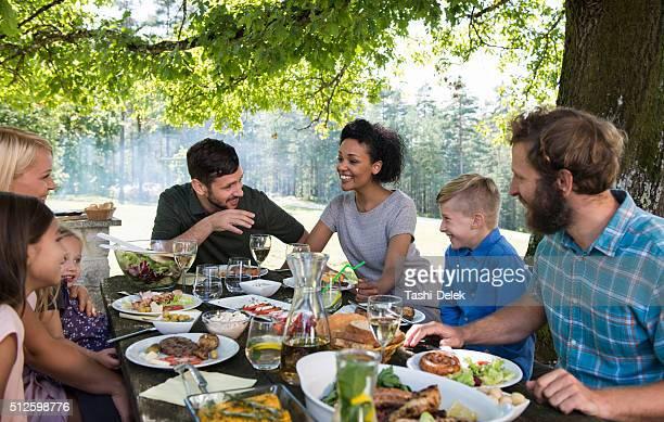 Feliz família piquenique partido