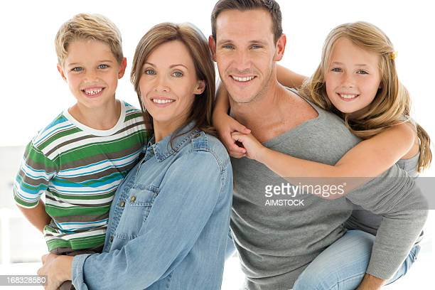 happy family - family with two children stock pictures, royalty-free photos & images