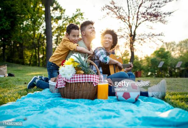 happy family play guitar and sing together while sitting in the park in summer. - natural parkland stock pictures, royalty-free photos & images