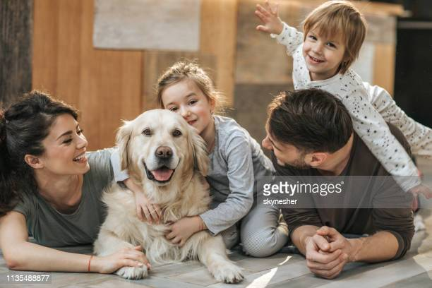 happy family relaxing with their retriever at home. - pets stock pictures, royalty-free photos & images