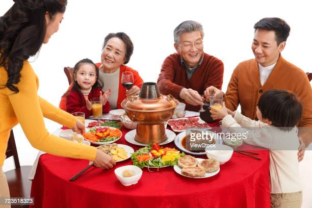 Happy family reunion dinner for the Chinese New Year